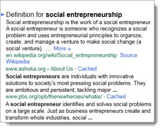 social entrepreneurship the case for definition The business-oriented definition of social entrepreneurship centres on using and managing of resource sin order to produce outputs that have social value thus, unlike regular entrepreneurs, social entrepreneurs are not motivated by wealth creation for personal gains.