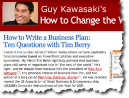 business plan expert for Guy Kawasaki