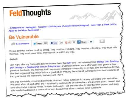 Brad Feld Post Be Vulnerable