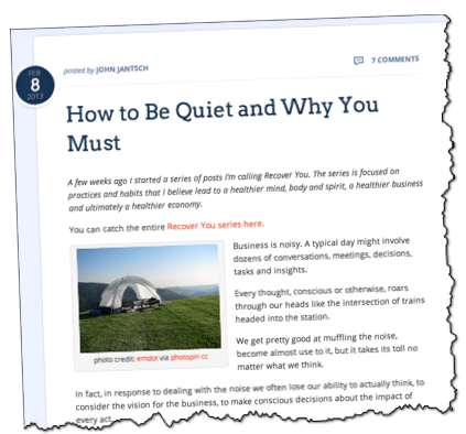 John Jantsch How to be quiet