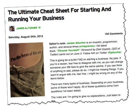 James Altucher Ultimate Cheat Sheet Startups TechCrunch