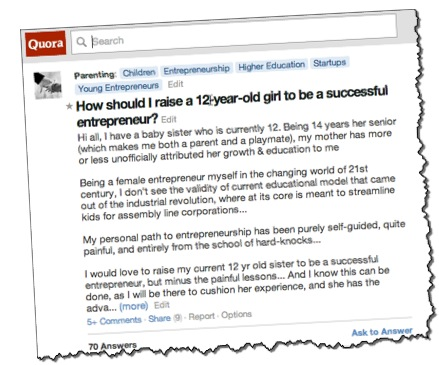 Quora 12-year-old entrepreneurship