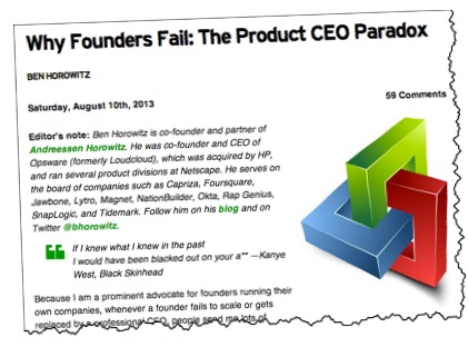 Why Founders Fail as CEOs TechCrunch Product CEO Paradox