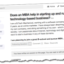 MBA and tech startups