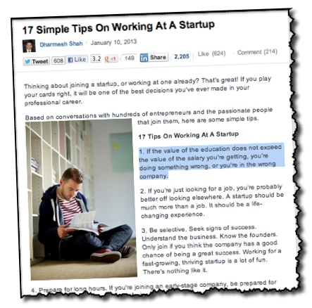 Dharmesh Shah 17 tips on working with a startup