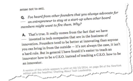 Ben Horowitz NYtimes CEO innovation
