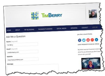 timberry.com, ask-me form, Tim Berry