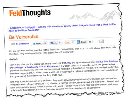 Brad Feld Post Be Vulnerable