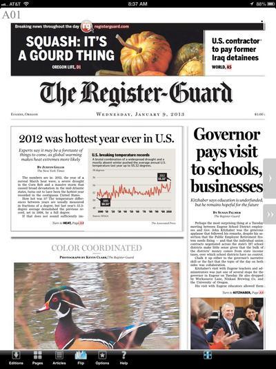 Eugene Register Guard newspaper journalism