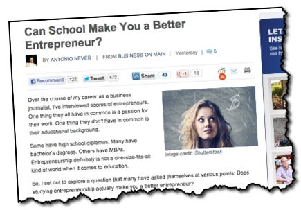 business education vs entrepreneur experience