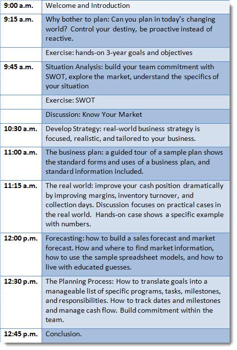 sample consulting seminar business plan
