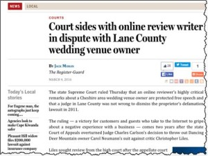 Court Protects Nasty Reviews